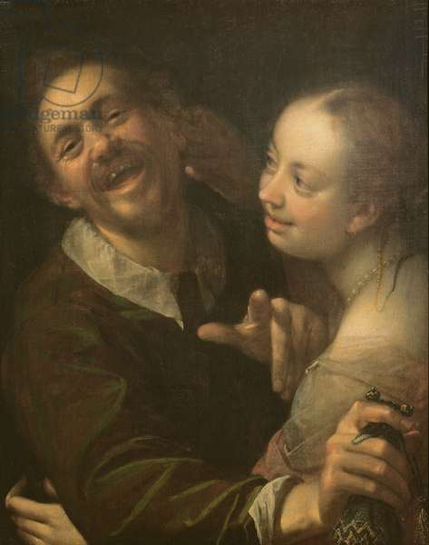 A Laughing Couple, self portrait of the artist with his wife (Scherzendes Paar), 1596