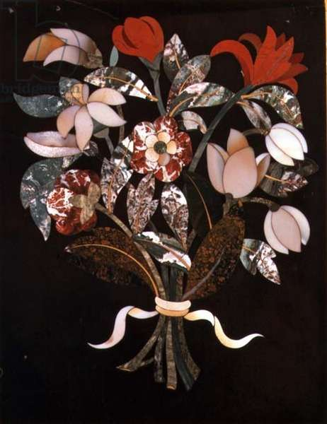 Detail of a cabinet showing a bouquet of flowers in pietra dura marble, Florentine