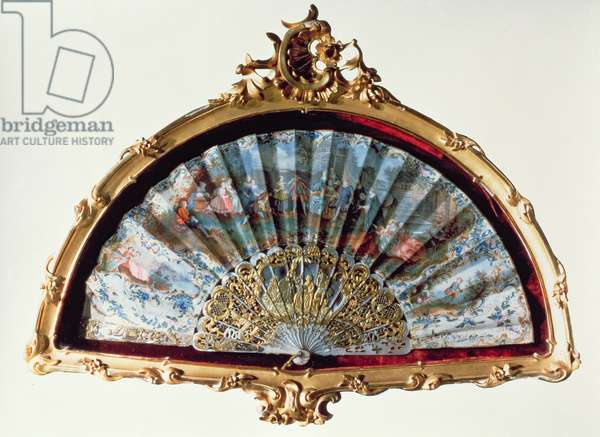 Fan, decorated with a scene of a fete champetre, belonging to Empress Elisabeth (ivory, gilt)