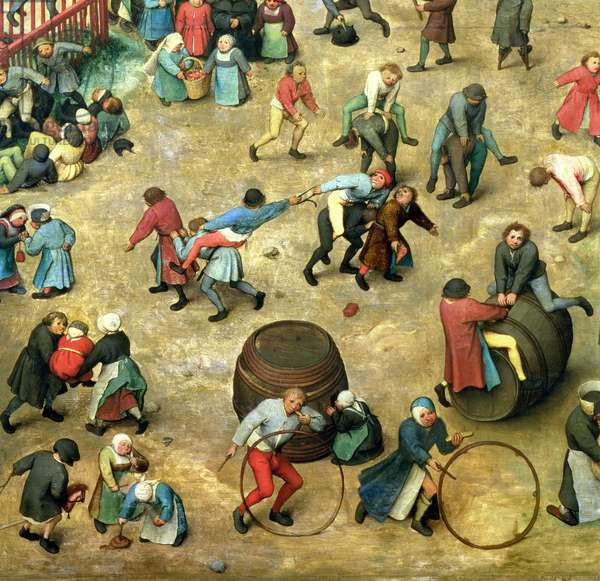 Children's Games (Kinderspiele): detail of bottom section showing various games, 1560 (oil on panel) (detail of 68945)