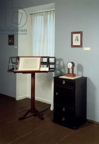 Beethoven Room displaying a music stand and mantel clock once belonging to Ludwig van Beethoven
