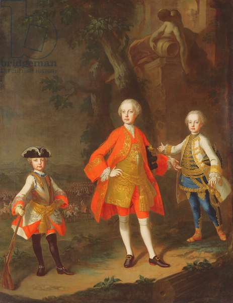 Three sons of Maria Theresa of Austria (oil)