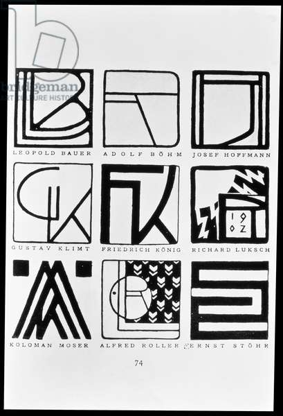 Monograms of nine Jugendstil artists: Leopold Bauer, Adolf Bohm (1861-1927), Josef Hoffmann (1870-1956), Gustav Klimt (1862-1918), Friedrich Konig, Richard Kuksch, Kolomon Moser (1868-1918), Alfred Roller (1864-1935) and Ernst Stohr (1865-1917)
