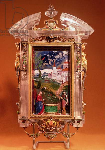 Christ and the Samaritan, pietre dure panel by Cristofano Gaffuri (d.1626), set in a rock crystal framework by Gian Ambrogio Caroni (d.1611) embellished with goldwork garlands, cartouche and female herm figures by Jacques Byliveldt (1550-1603) and Bernadino Gaffuri (d.1606), from the private chapel of Ferdinand de Medici, c.1600