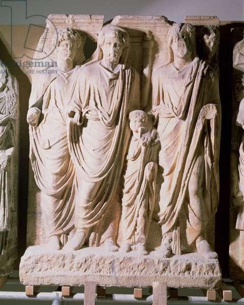 Frieze detail showing Emperors Hadrian (76-138), Marcus Aurelius (121-80) and Lucius Verus (86-161), from Ephesus (marble)