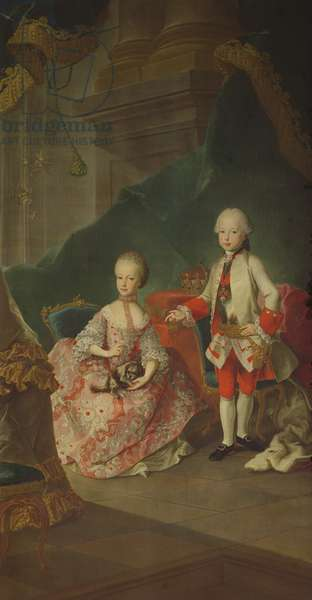 Two children of Empress Maria Theresa of Austria (1717-80) Leopold (1747-92) (later Emperor Leopold II) and his sister Princess Maria Christine (later wife of Albert Sachsen-Teschen founder of the Albertina Gallery in Vienna)