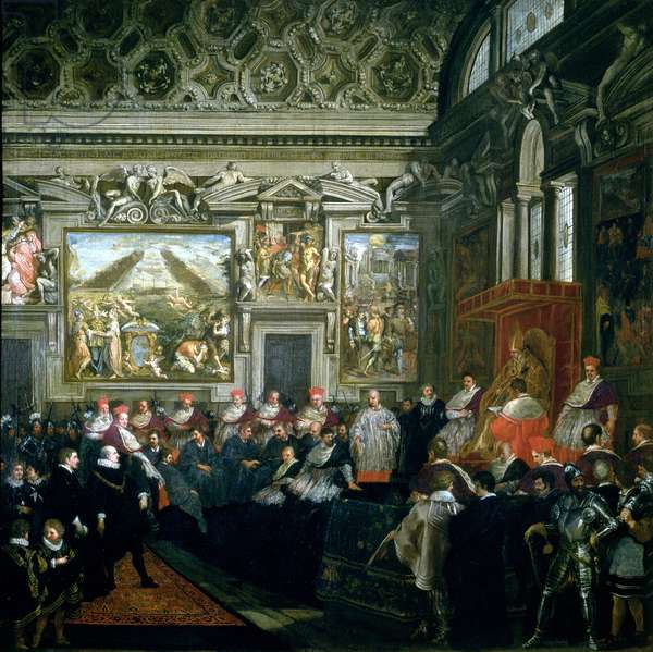 Pope Paul V (1522-1621) with an Audience, 1620 (oil on canvas)