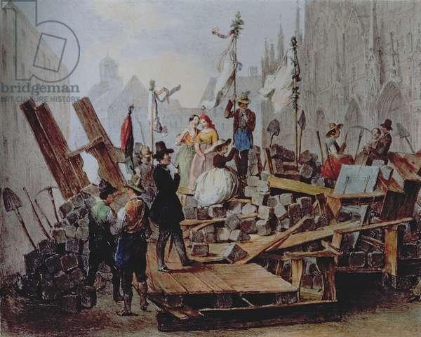 Barricades in the Stephansplatz, Vienna, 1848 (oil on canvas)