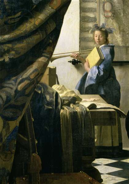 The Artist's Studio, c.1665-6 (oil on canvas) (detail of 408)
