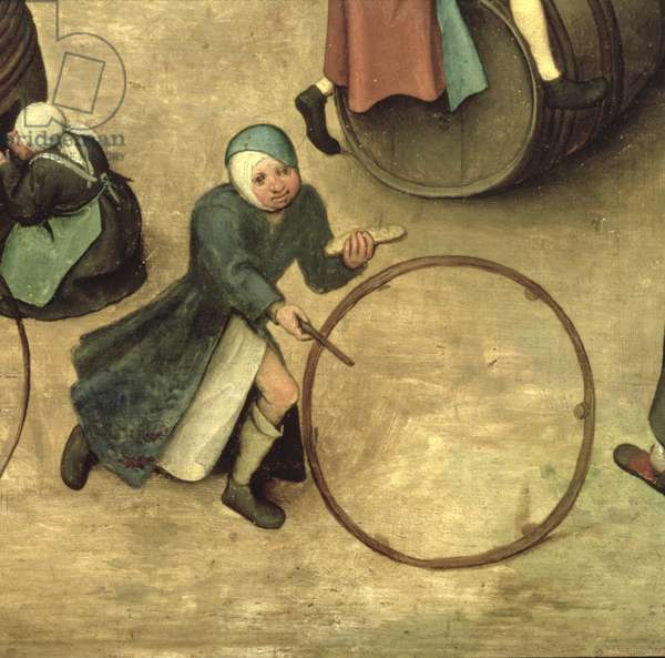 Children's Games (Kinderspiele): detail of a child with a stick and hoop, 1560 (oil on panel) (detail of 68945)