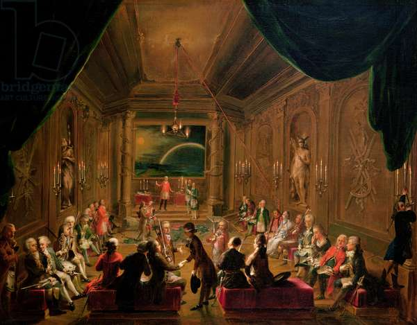 Initiation ceremony in a Viennese Masonic Lodge during the reign of Joseph II, with Mozart seated on the extreme left, 1784 (oil on canvas)