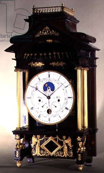 Astronomical Clock with wooden casing decorated with gilding and bronzework and enamel dial with Roman numerals by Philip Fertbauer, Vienna, c.1810/15