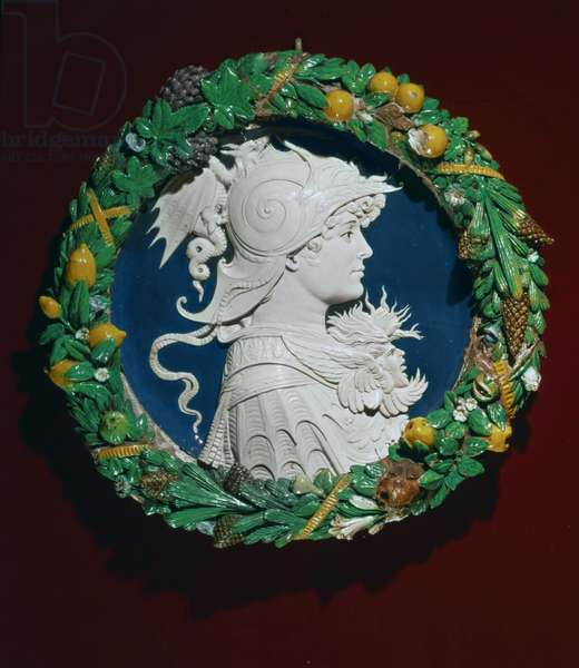 Roundel bearing a profile portrait of Alexander the Great surrounded by a garland of foliage, Florence, c.1480 (terracotta with polychrome glaze)