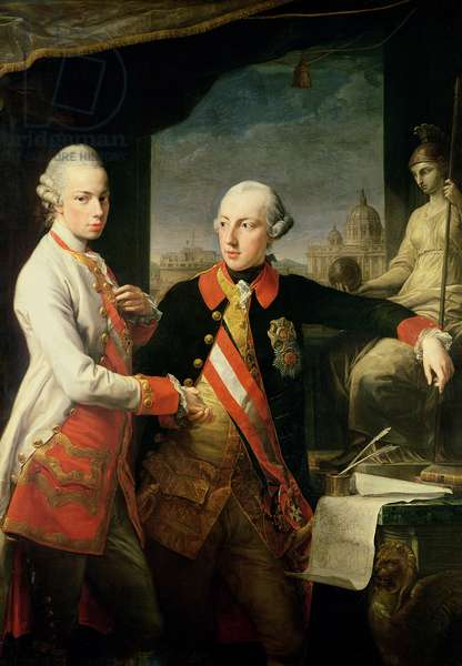 Kaiser Joseph II (1741-90), and the Grand Duke Leopold of Tuscany, 1769, (oil on canvas)