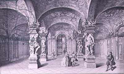 The Hall (Sala Terrena) of the Upper Belvedere in Vienna begun in 1721 by Johann Lukas von Hildebrandt, engraved by Thelot (engraving)