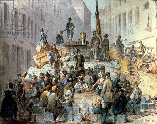 Barricades in Marzstrasse, Vienna, 1848 (oil on canvas)