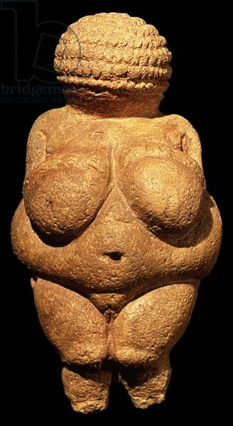 The Venus of Willendorf, Fertility Symbol, Pre-Historic sculpture, 30000-25000 BC (front view)