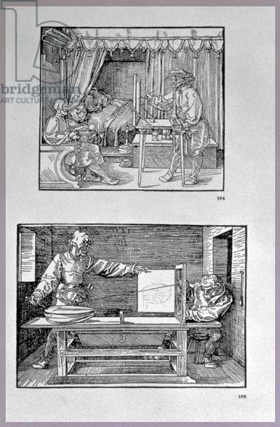 Apparatus for translating three-dimensional objects into two-dimensional drawings, two scenes from the artist's first technical book 'Introduction in the Art of Measurement with Compass and Ruler', written in German, pub. 1525 (woodcut)