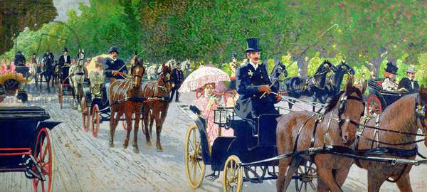 Driving in the Prater Park, 1900 (oil on canvas)