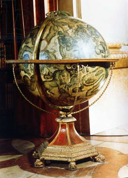 Celestial globe, 1688 (papier mache with wooden stand) (pair to 90828)