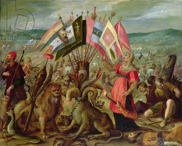 Allegory of the Turkish Wars: The Battle of Kronstadt, 1603/04 (paper or parchment mounted on canvas)