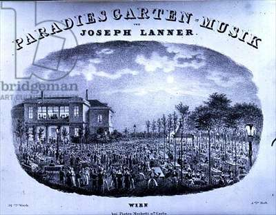 Frontispiece to 'Paradise Garden Music' composed by Joseph Franz Karl Lanner (1801-43) (litho)