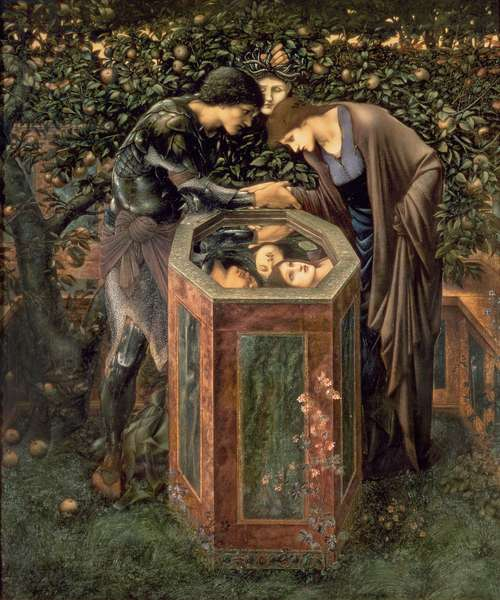 The Baleful Head, illustration from William Morris' 'The Earthly Paradise'; Perseus shows Andromeda the head of Medusa reflected in a well, 1887 (oil on canvas)