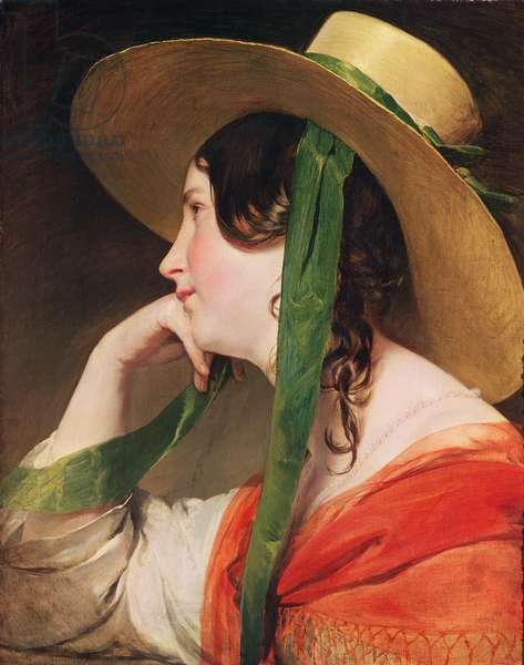 Girl in a Yellow Straw Hat, (oil on canvas)