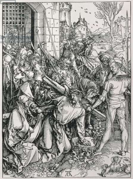 The Bearing of the Cross from the 'Great Passion' series, pub. 1511 (woodcut)