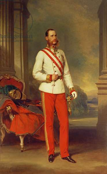 Franz Joseph I, Emperor of Austria (1830-1916) wearing the dress uniform of an Austrian Field Marshal with the Great Star of the Military Order of Maria Theresa, 1864