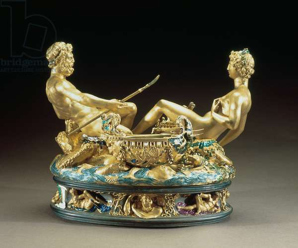 Salt cellar or Saliera, belonging to King Francis I of France depicting the earth and sea united represented by a female earth goddess and a male sea god, 1540-43 (gold and enamel)