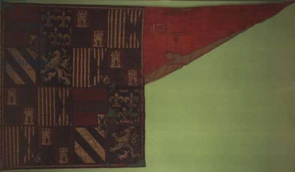 Banner of the auxiliary Spanish Troops at the 1st Siege of Vienna by the Turks in 1529, 1523 (painted silk)