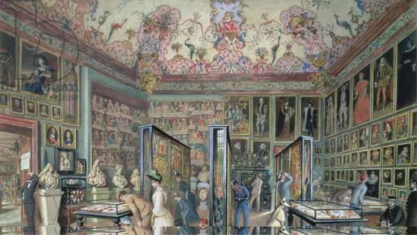 The Genealogy Room of the Ambraser Gallery in the Lower Belvedere, 1888 (w/c)