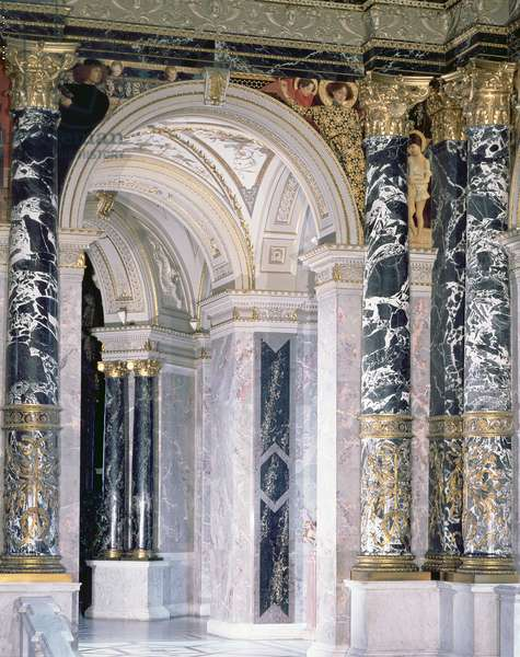 Interior of the Kunsthistorisches Museum in Vienna, detail depicting archway and the spandrel decoration of figures depicting the Italian Renaissance, 1890/91 (mural)