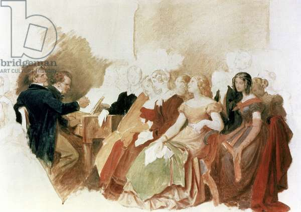 Study for An Evening at Baron von Spaun's: Schubert at the piano among his friends, including the operatic baritone Johann Vogl (1768-1840) (w/c on paper)