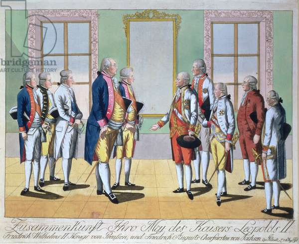 Emperor Leopold II (1747-92), Frederick William II King of Prussia (1744-97) and Frederick Augustus I the 'Just', Elector of Saxony (1750-1827) meeting at Pillnitz on 24th August 1791, engraved by Johann Hieronymus Loeschenkohl (1753-1807) (engraving)