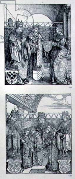 The Triumphal Arch of Emperor Maximilian I (1459-1519): detail showing two panels placed above the left-hand portal depicting events in the life of Emperor Maximilian, pub. 1517/28 (woodcut)