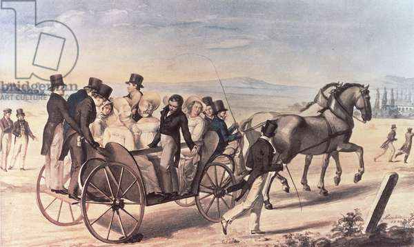 Excursion of the Schubertians from Atzenbrugg to Aumuhl, with Franz Peter Schubert (1797-1828) standing to the left with the artist, 1820 (w/c)