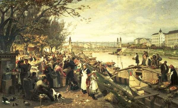Fruit market in Schazel, near the Maria Theresa Bridge, Vienna, 1895