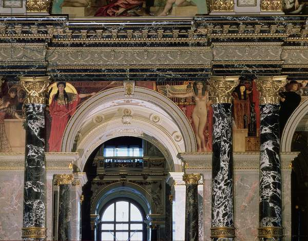 Interior of the Kunsthistorisches Museum, Vienna, detail depicting archway and the spandrel decoration of figures depicting Ancient Greece and Ancient Egypt, Vienna, 1890/91 (mural)