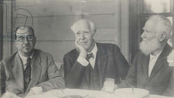 People's Commissar Anatoly Lunacharsky with theatre director Constantin Stanislavski and playwright George Bernard Shaw (b/w photo)