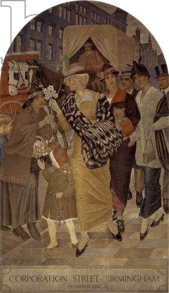 Corporation Street, Birmingham in March 1914 (fresco)