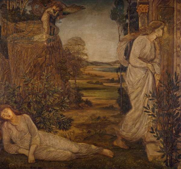 Cupid and Psyche - Palace Green Murals - Zephyrus Bearing Psyche to the Mountain, 1881 (oil on canvas)