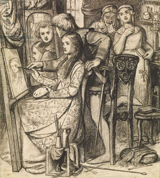 Love's Mirror or a Parable of Love, 1850 - 1852 (pen & ink over pencil with wash on paper)