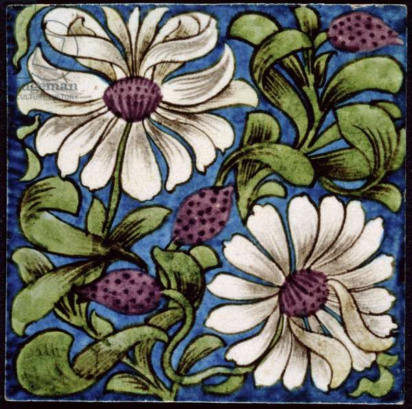 Sprig of Flowers, 1880-1890 (earthenware with painted transfer over slip)