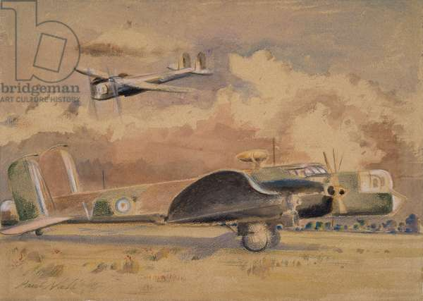 Whitley Bombers Sunning, 1940 (w/c on paper)