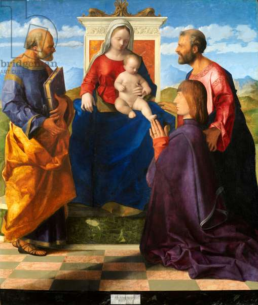 Madonna and Child Enthroned with SS. Peter and Paul and a Donor, 1505 (oil on panel)
