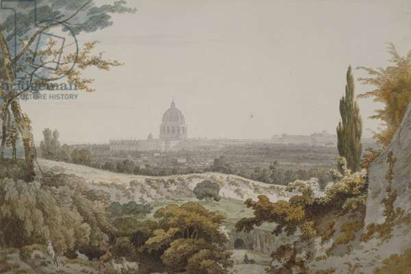 St. Peter's, Rome, 1776 (pen & ink and w/c on paper)