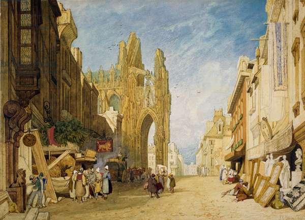 Street Scene at Alencon, Normandy, 1828 (w/c & gouache on paper)