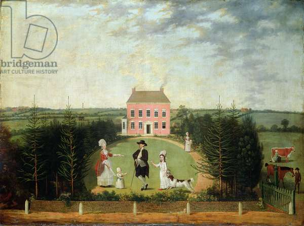 Conversation Piece before House on Monument Lane, Edgbaston, 1770-1820 (oil on canvas)
